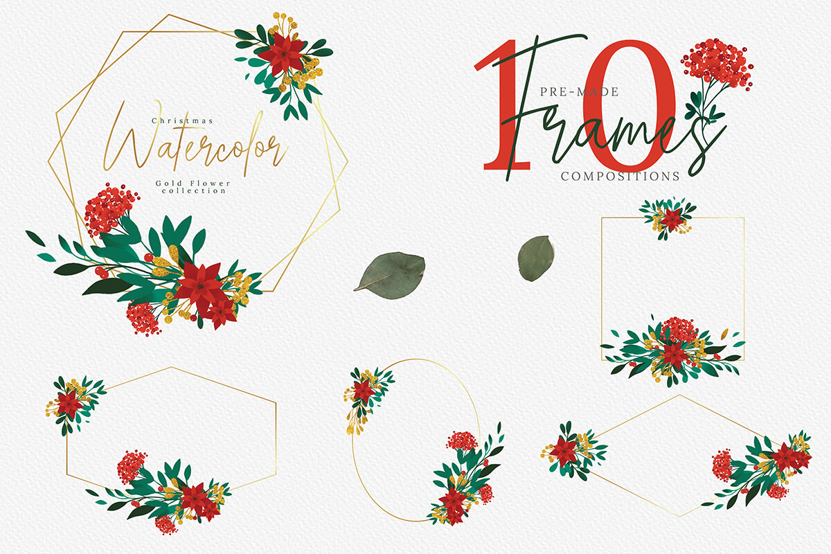 Christmas Watercolor Gold Flower collection example image 4