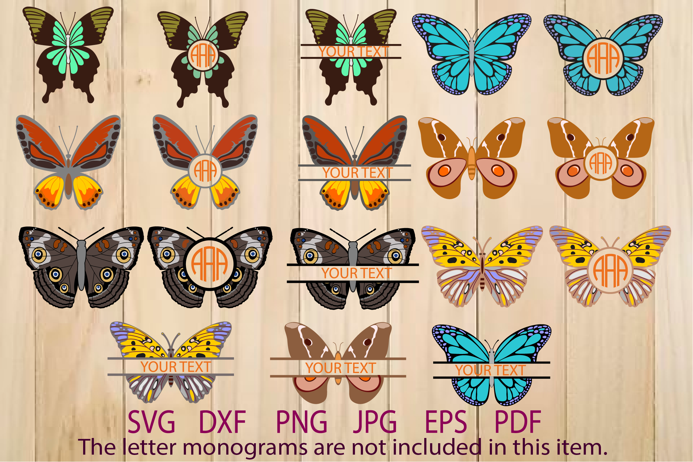 Butterflies SVG, Butterfly Monogram Frame example image 1