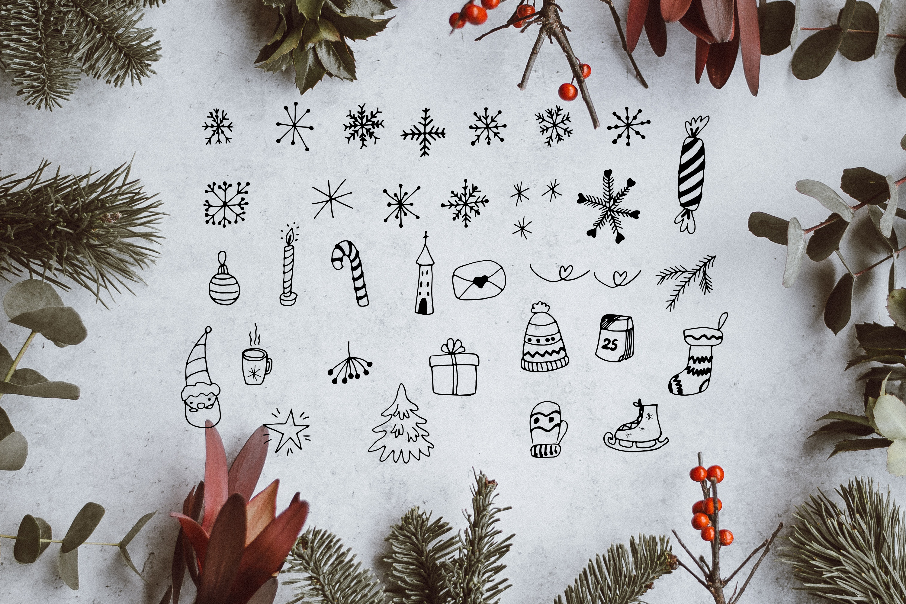 Merry Christmas display font and doodles example image 4