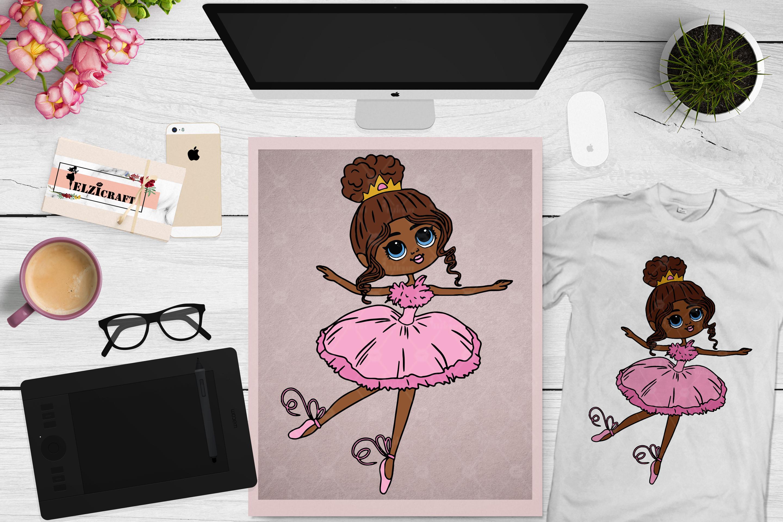 Ballerina Afro Girl Princess Melanin Poppin SVG Cut File example image 1