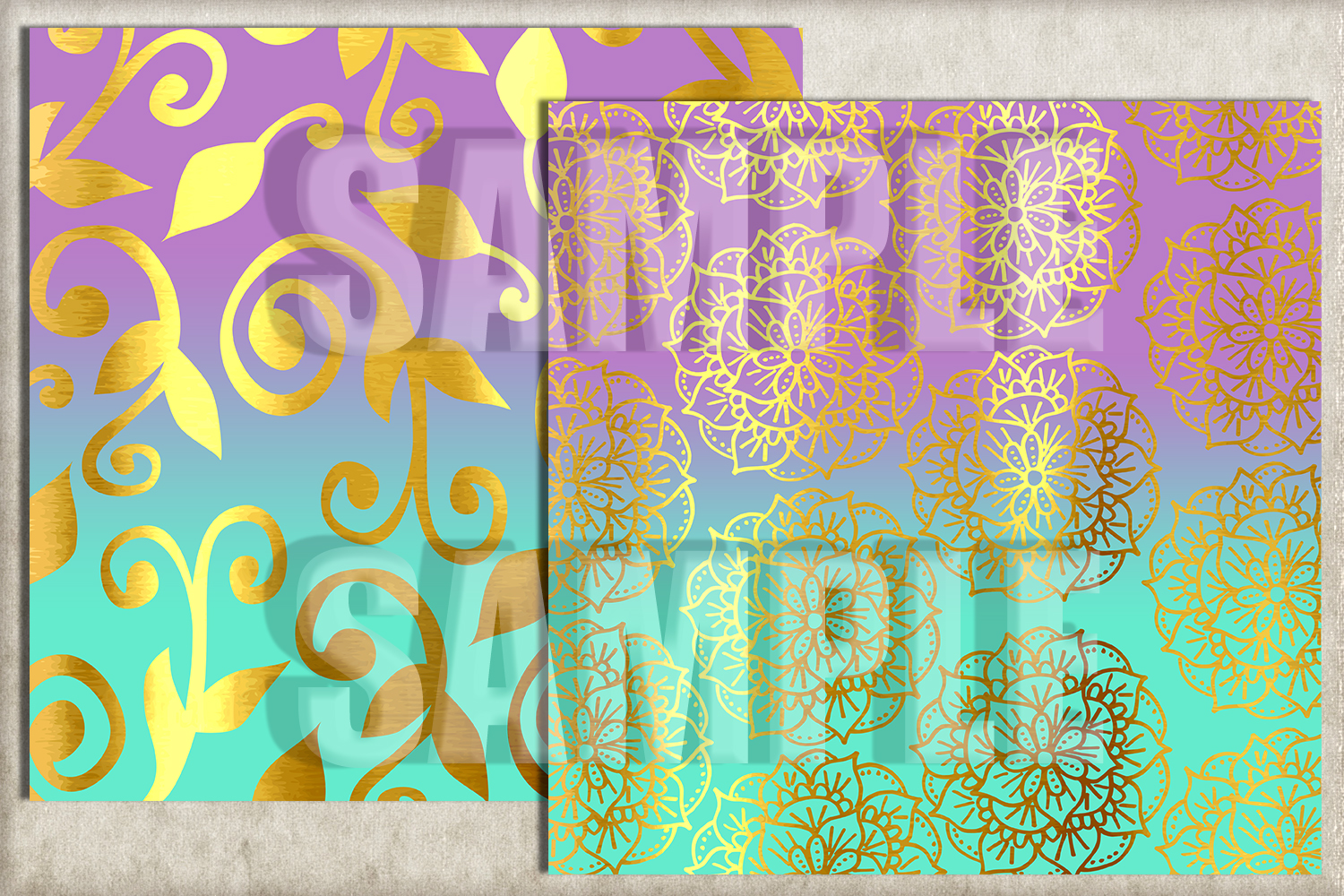 Lavender and Turquoise Foil Digital Paper, Digital Backgroun example image 3