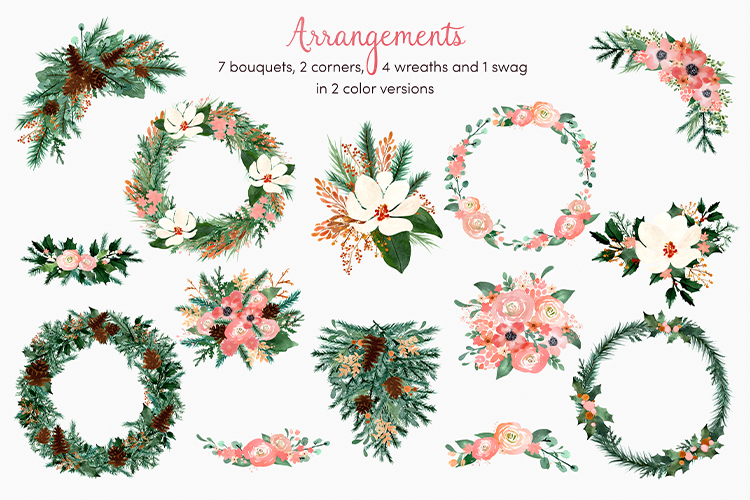 Blush & Bashful Blooms - Watercolor Floral Clipart example image 6