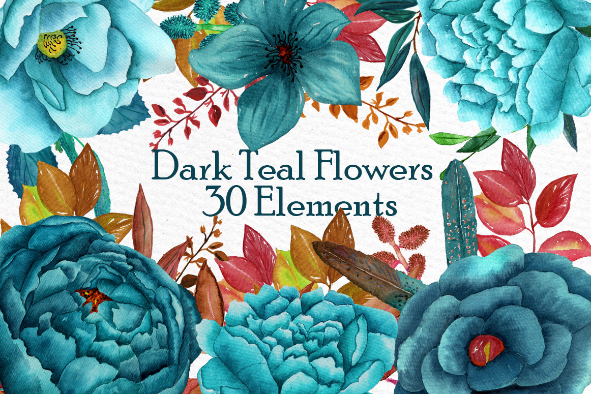 Watercolor teal flowers clipart example image 1