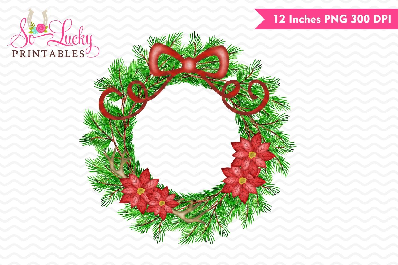 Watercolor Christmas Wreath Png.Christmas Wreath Watercolor Printable Sublimation Design