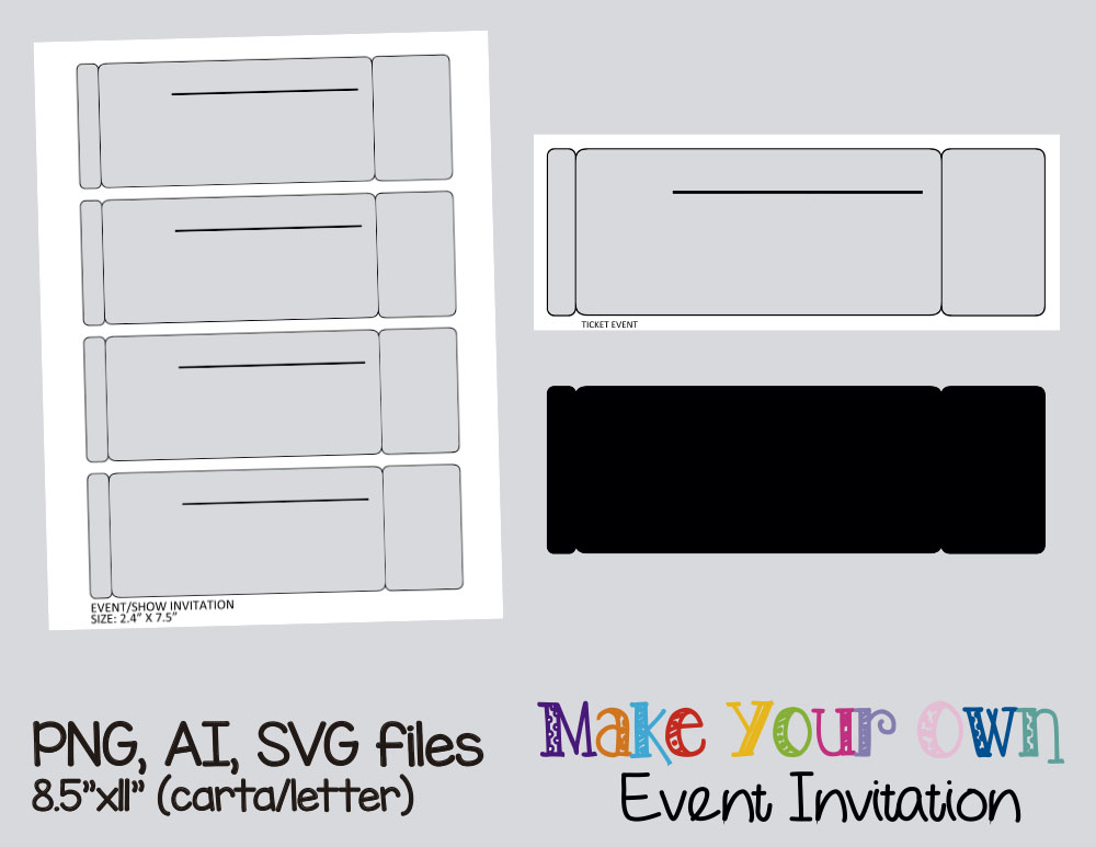 Event ticket invitation template, collage sheet template, digital ...