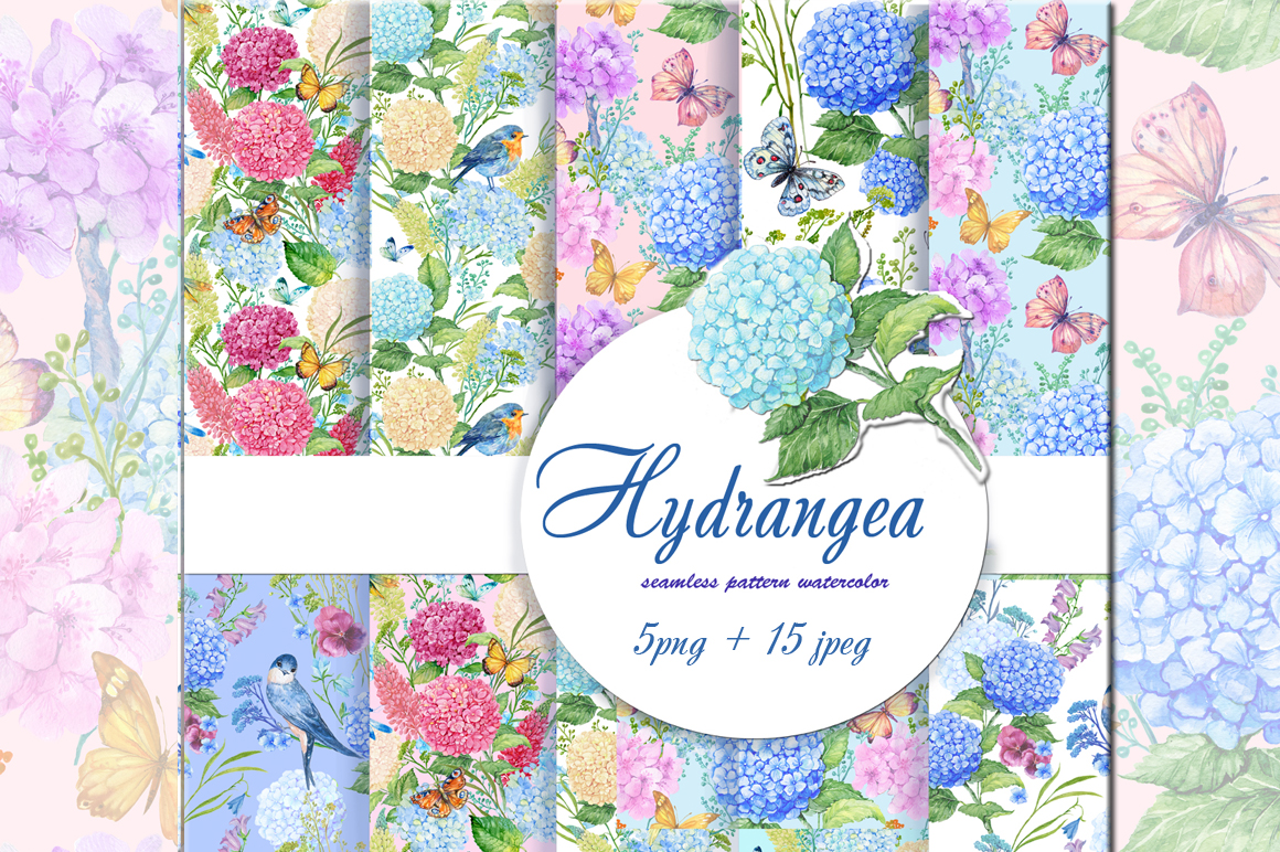 hydrangea watercolor patterns example image 1