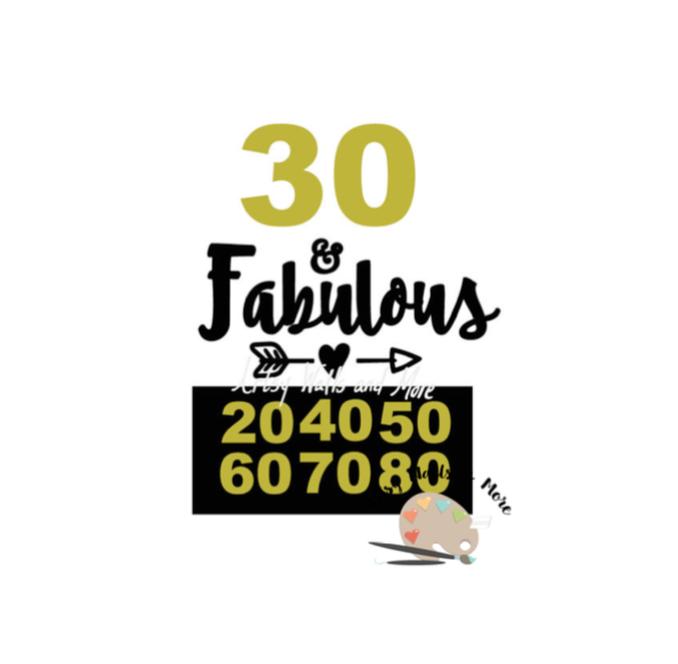 3f2392b9a Birthday t-shirt svg, birthday wine glass, 30 and fabulous svg, 20, 40 ...