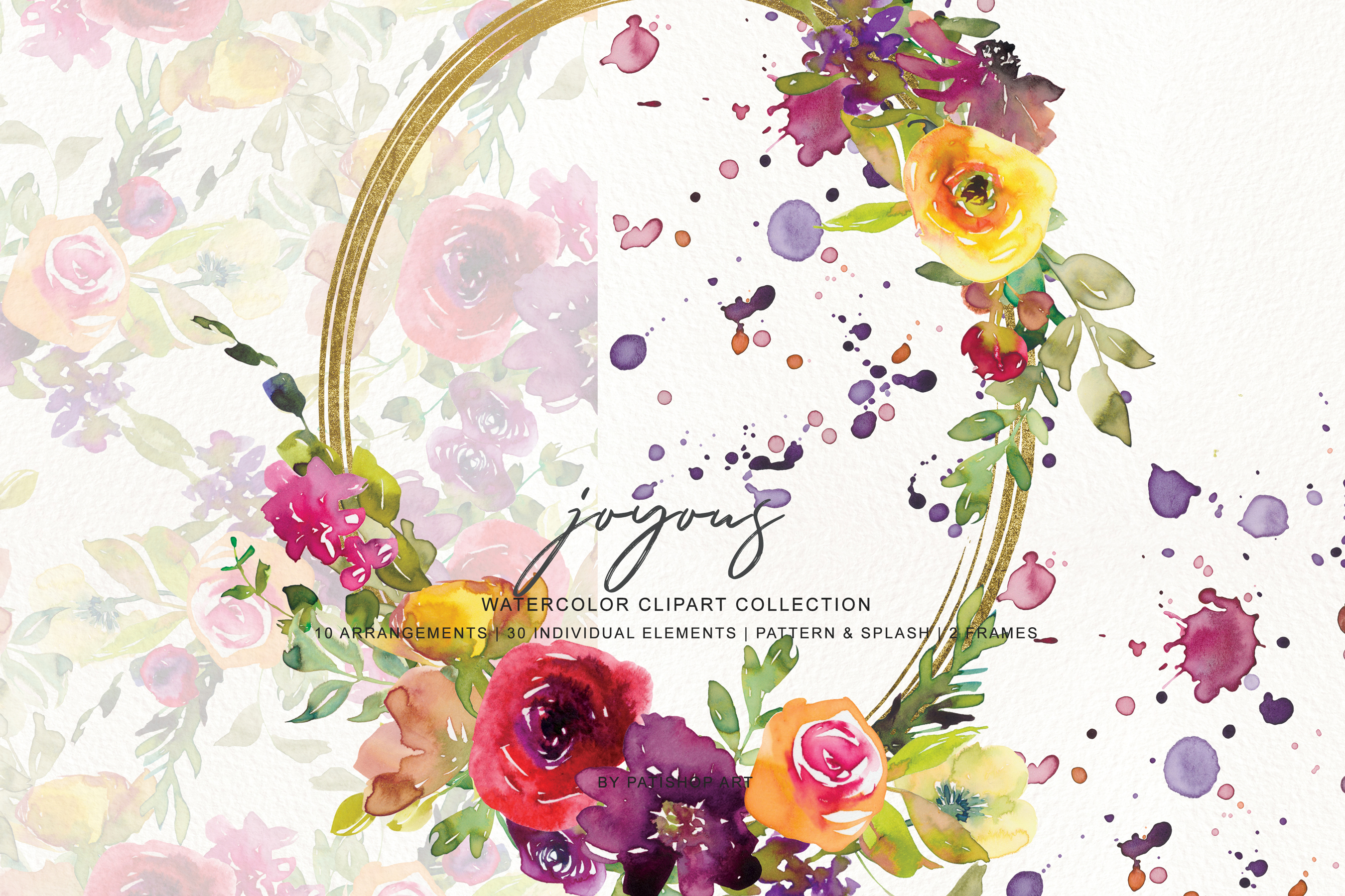 Watercolor Burgundy and Yellow Floral Bouquet Clipart example image 8