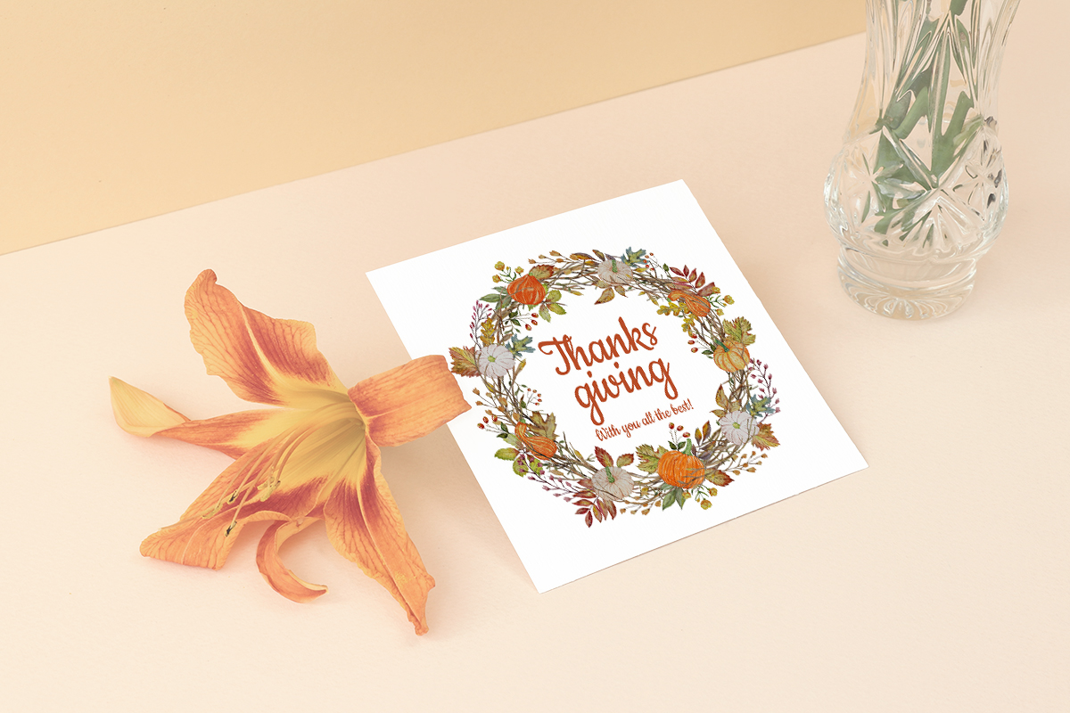 Watercolor Autumn holiday wreaths. Thanksgiving. Pumpkin example image 2