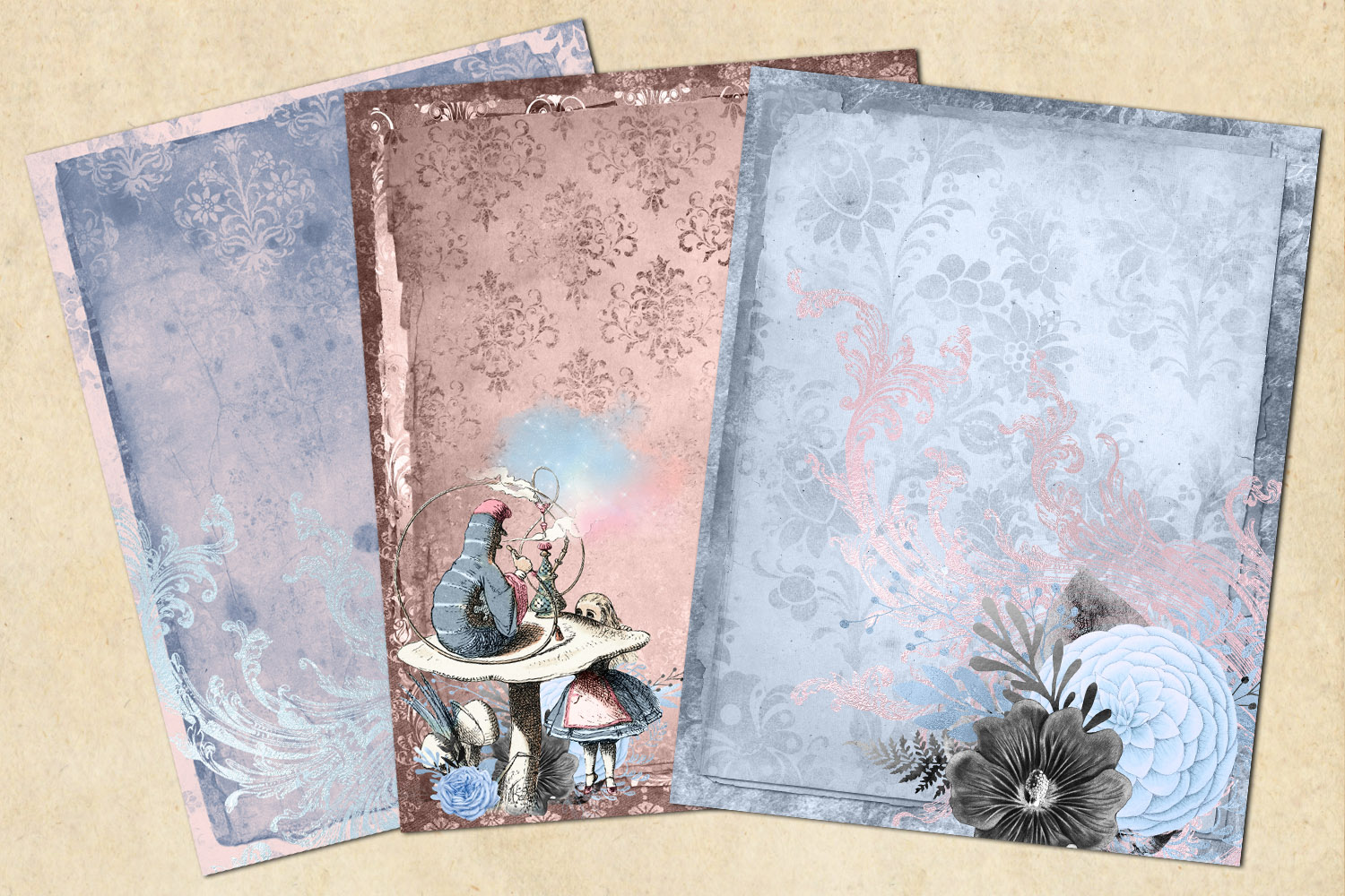 Dusty Blue and Blush Pink Alice in Wonderland Journal Paper example image 2
