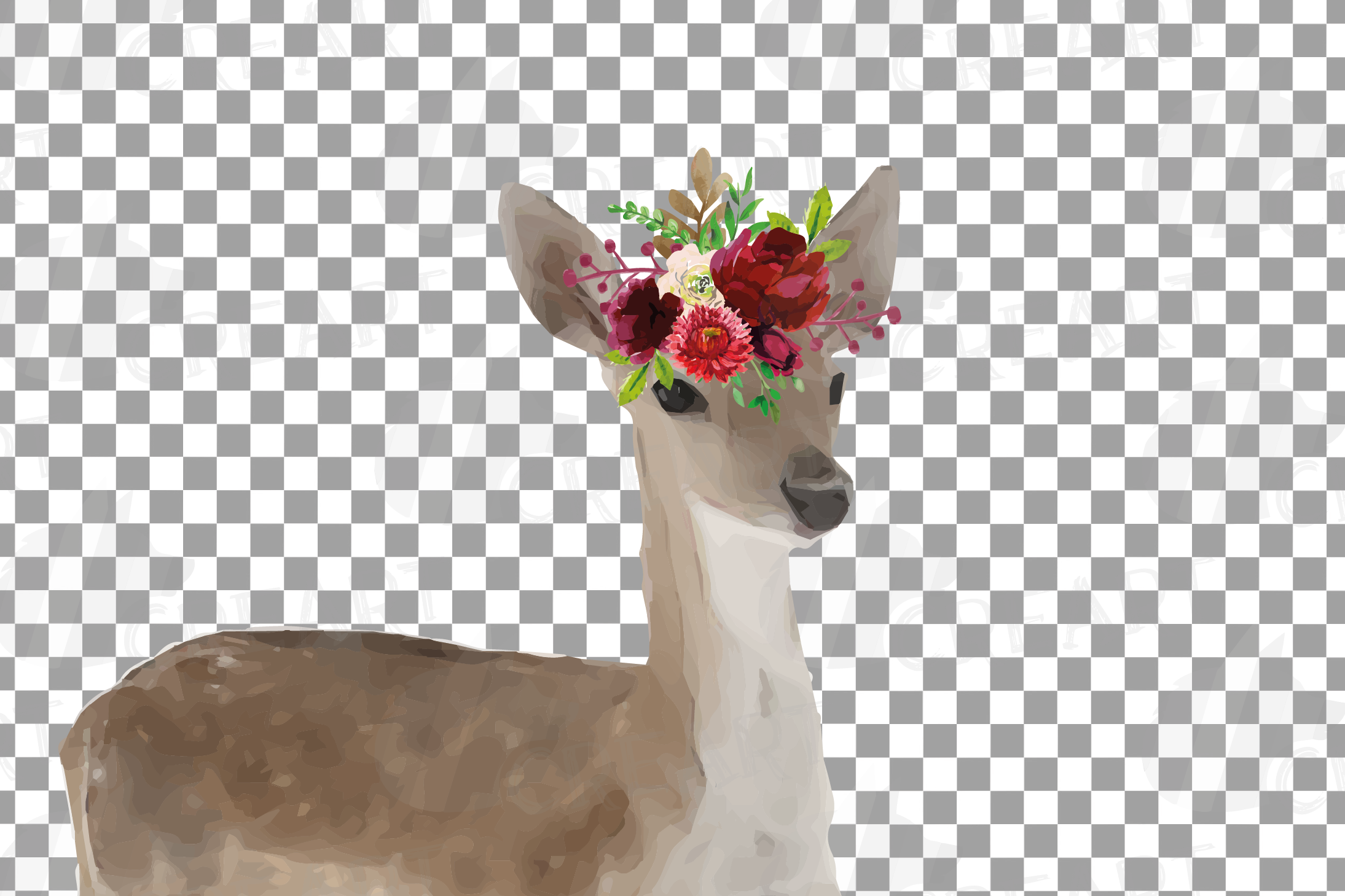 Deer couple with floral burgundy crown match shirt clip art example image 5