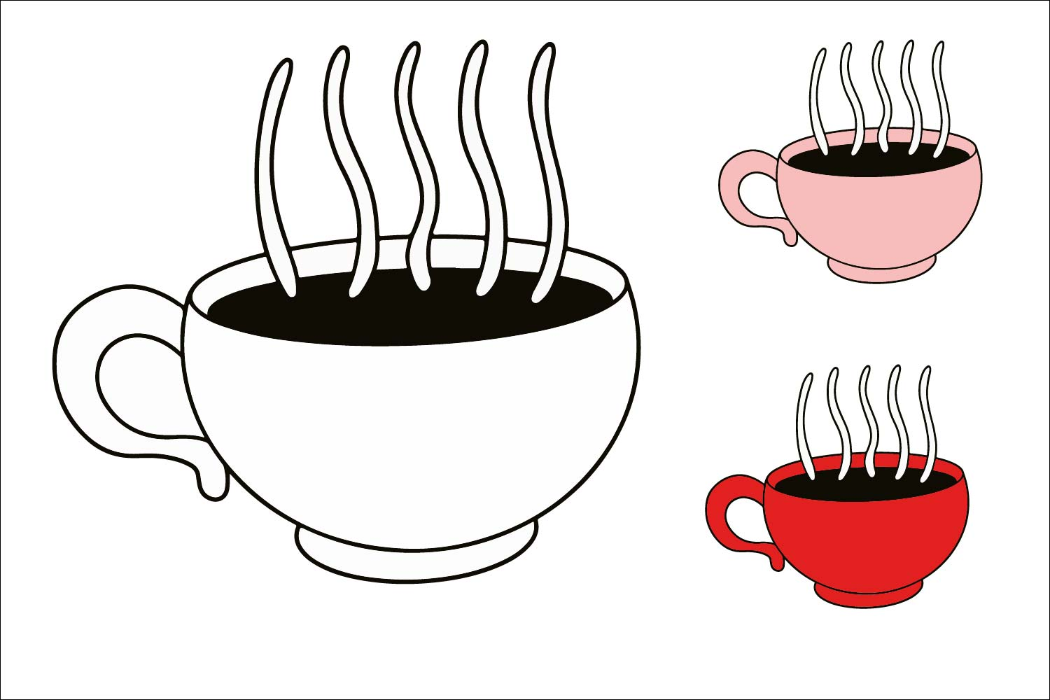 Coffee Cup - Color can be changed - SVG EPS JPG example image 1