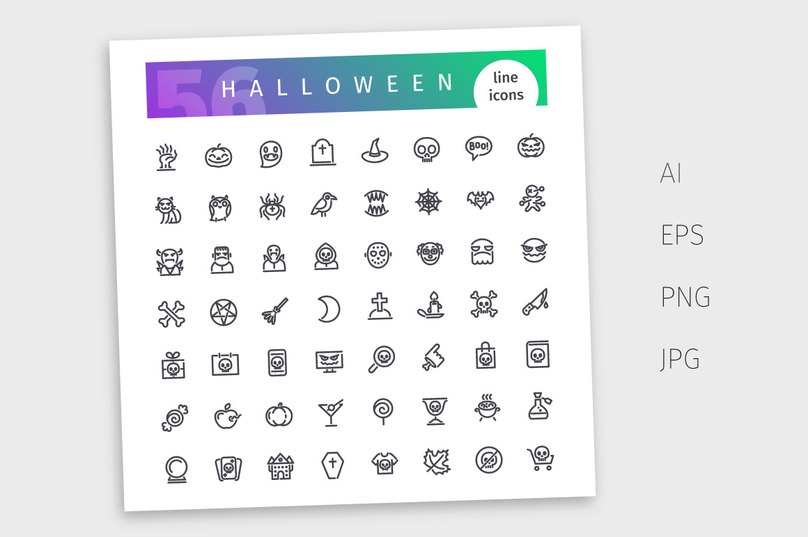 Halloween Line Icons Set example image 4