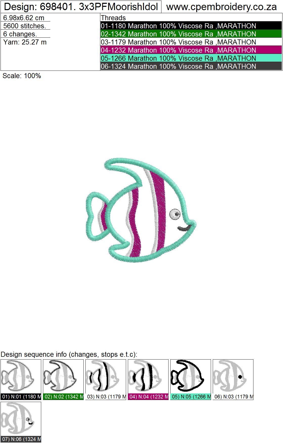 Striped Moorish Idol Pet Fish Applique Design example image 3