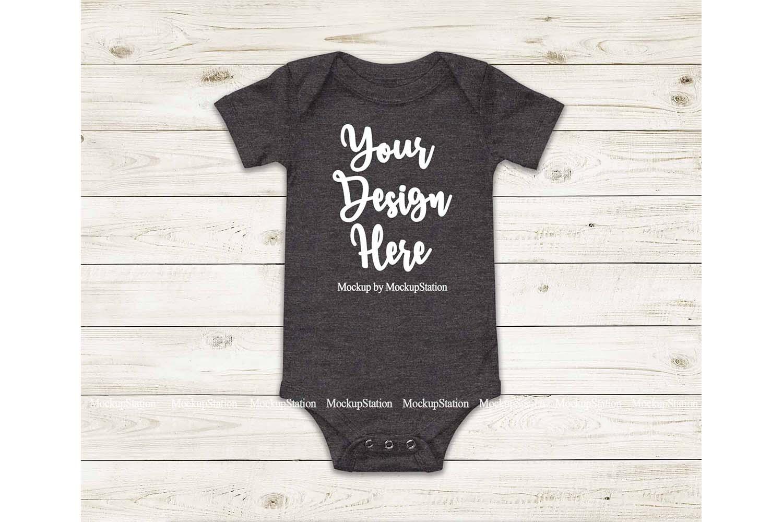 Baby Dark Heather Grey Bodysuit Mockup, Blank Toddler Tee example image 1
