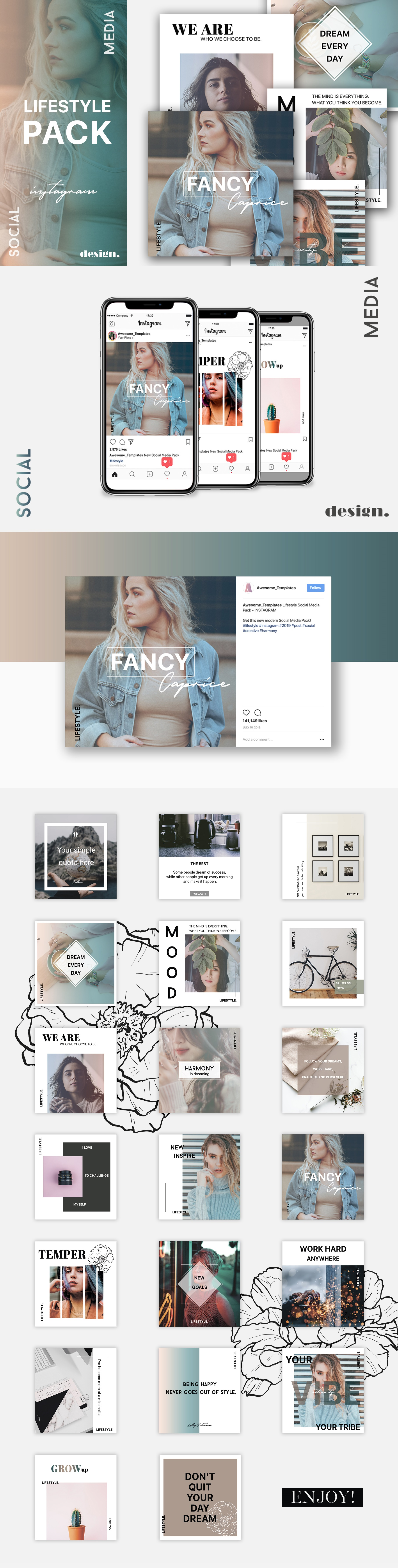 Lifestyle Instagram Template Set example image 5