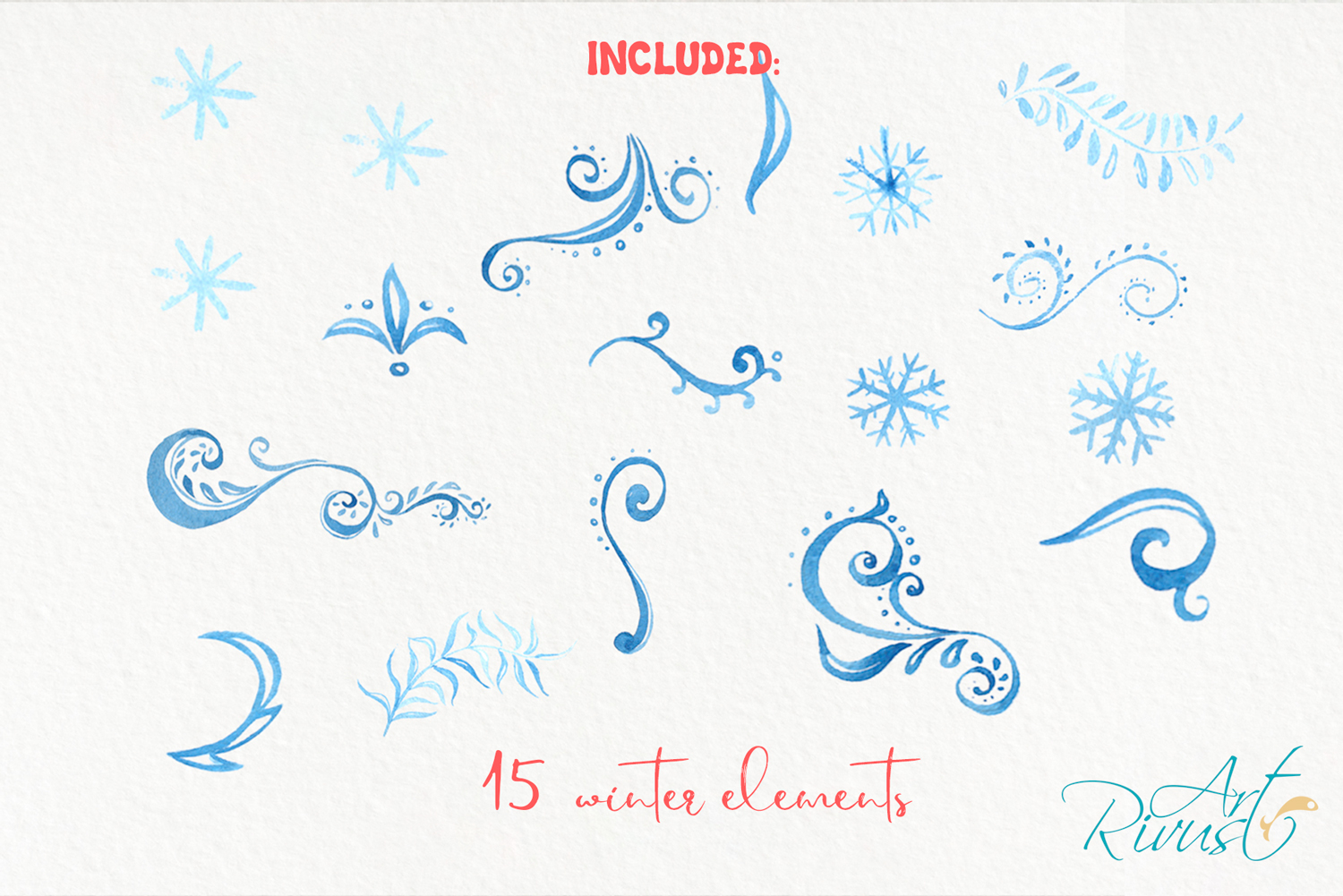 Christmas Penguins watercolor CLIPARTS, DIGITAL PAPERS example image 5