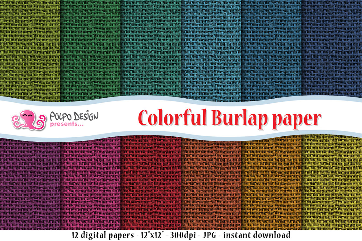 Colorful Burlap Digital Paper example image 1