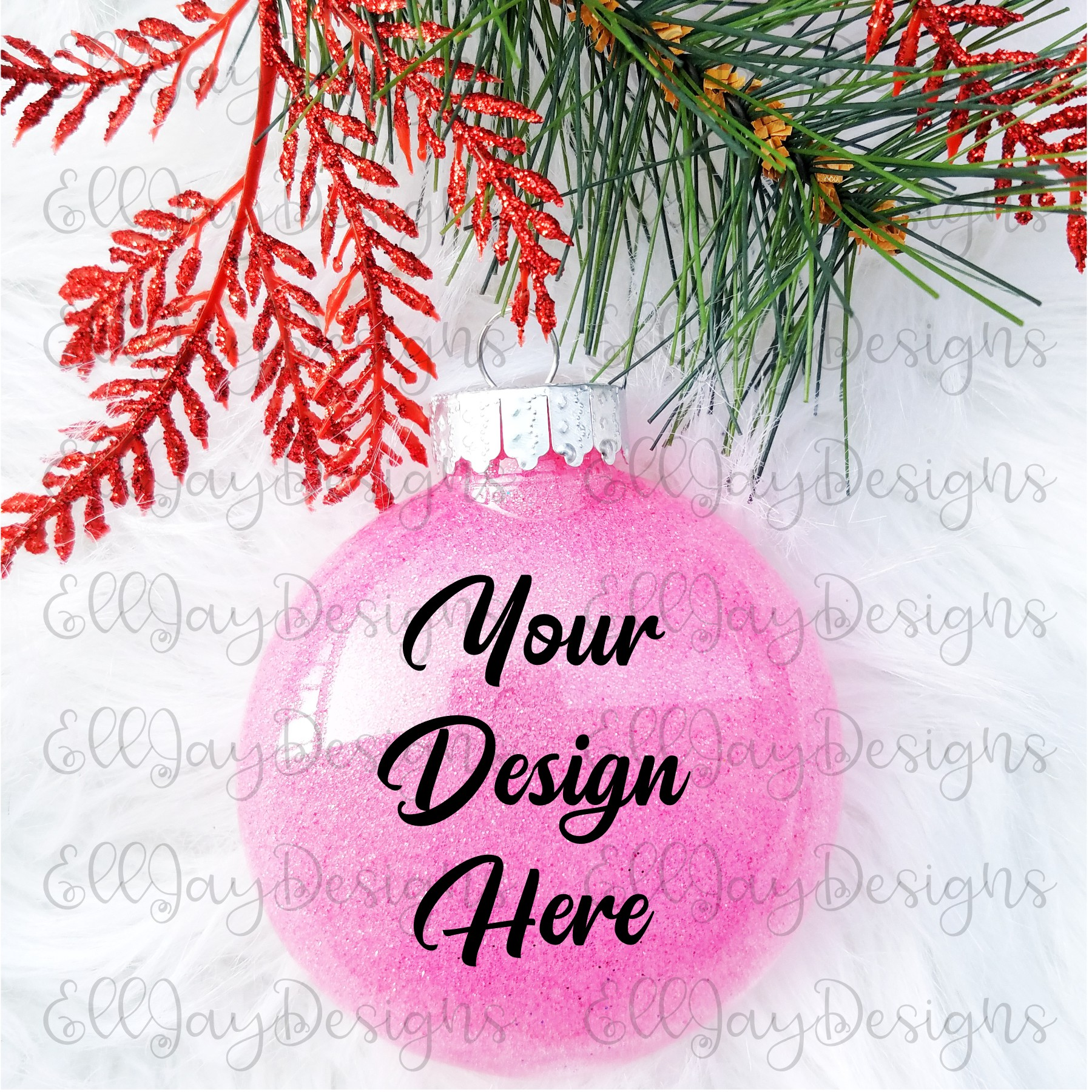 Pink Christmas Glitter Ornament Mock up example image 2