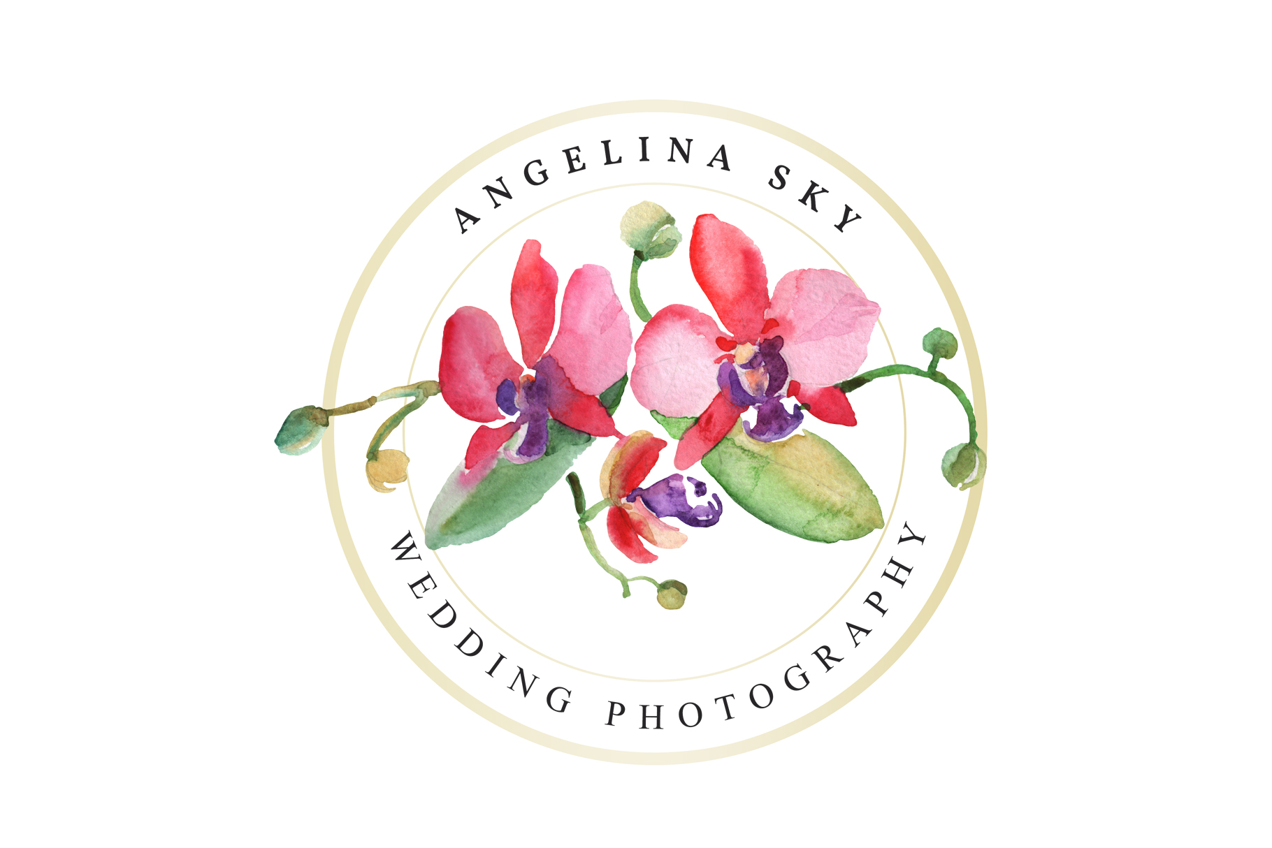LOGO with beautiful orchids Watercolor png example image 4