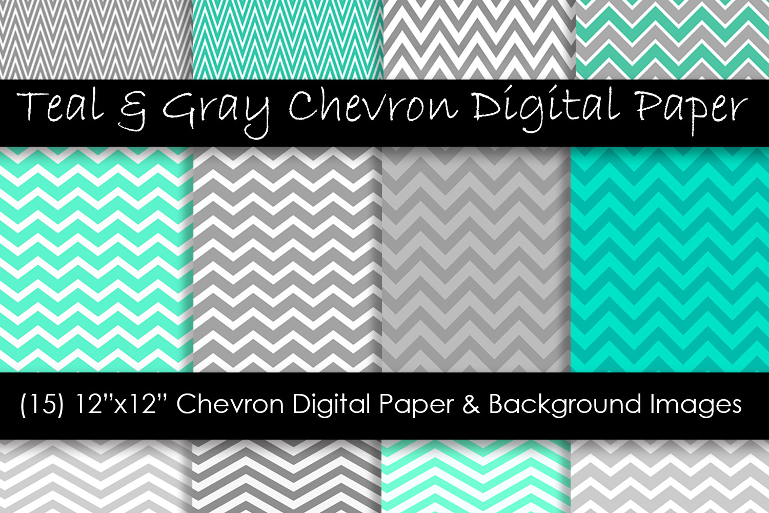Teal & Gray Chevron Patterns example image 1