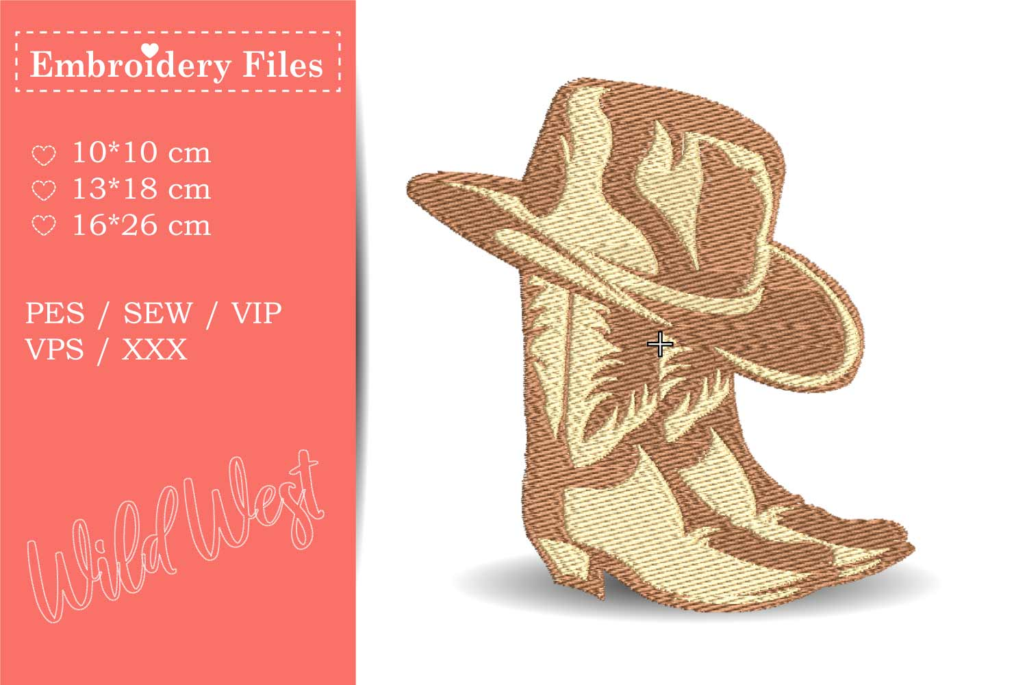 Cowboy Boots and Hat - Embroidery File for Beginners example image 2
