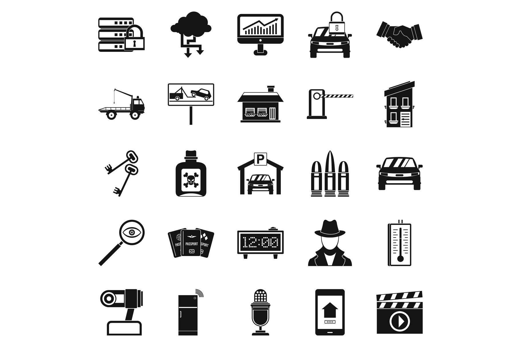 Car recorder icons set, simple style example image 1