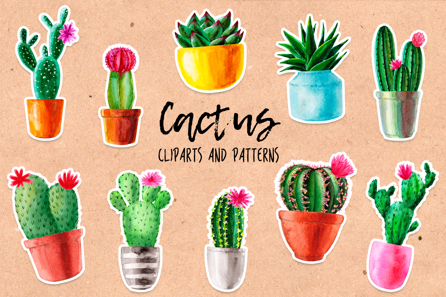 Watercolor Cactus. Cacti Patterns example image 1