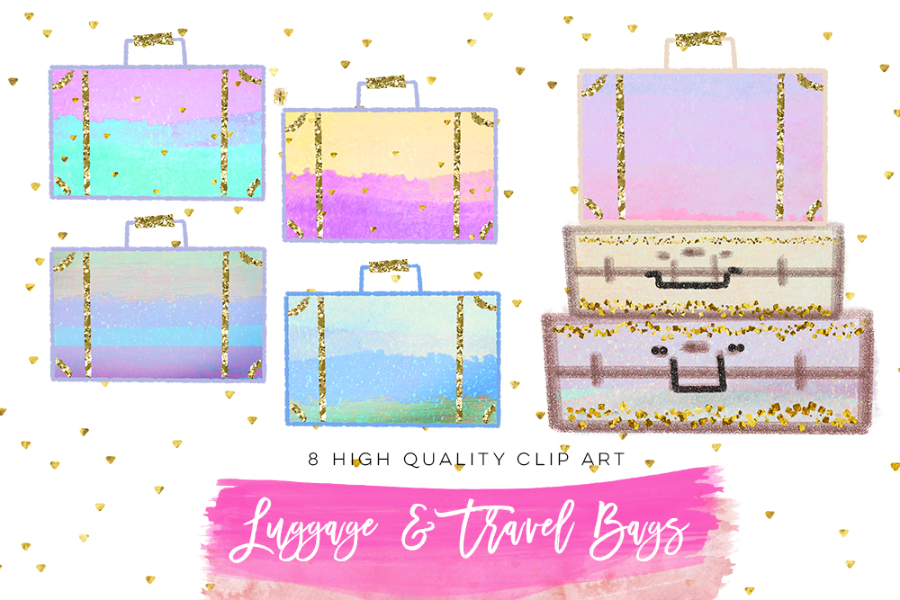 Summer Vacation Travel Clip art, Planner Stickers, Photography Branding, Digital Cliparts, rainbow pastel graphics resources Fabric Backdrop example image 2