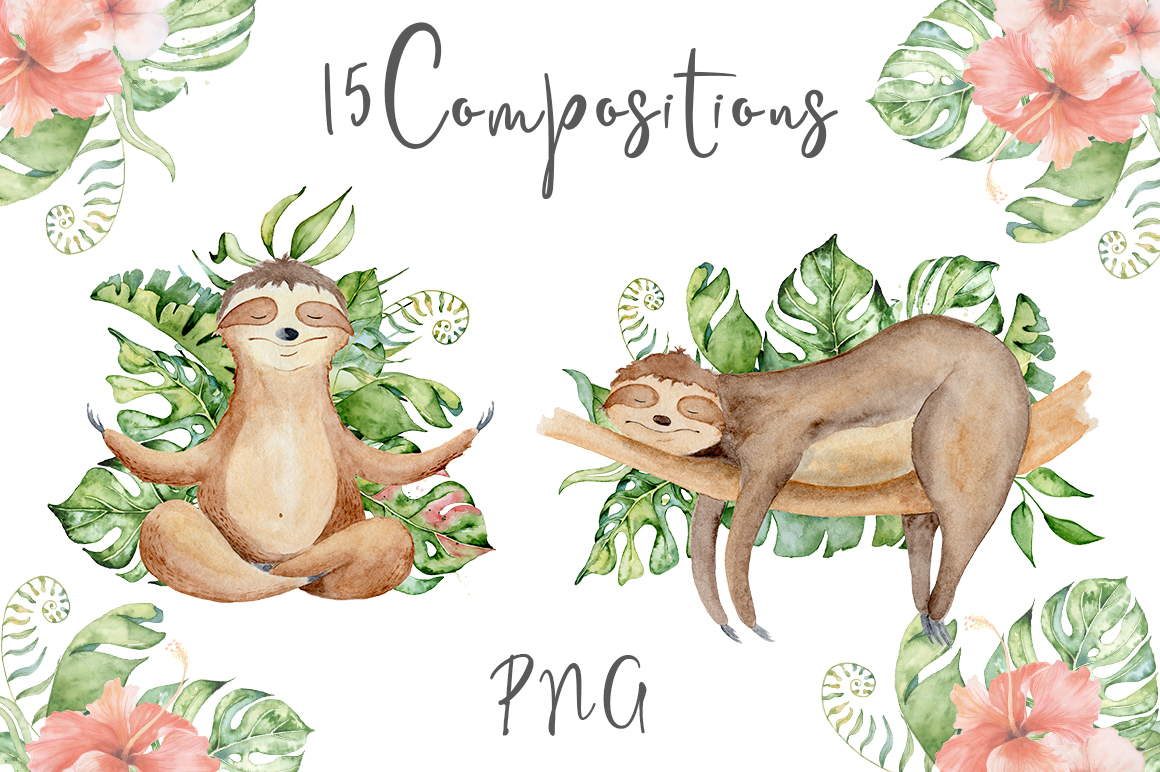 Lovely Sloths Watercolor set example image 4