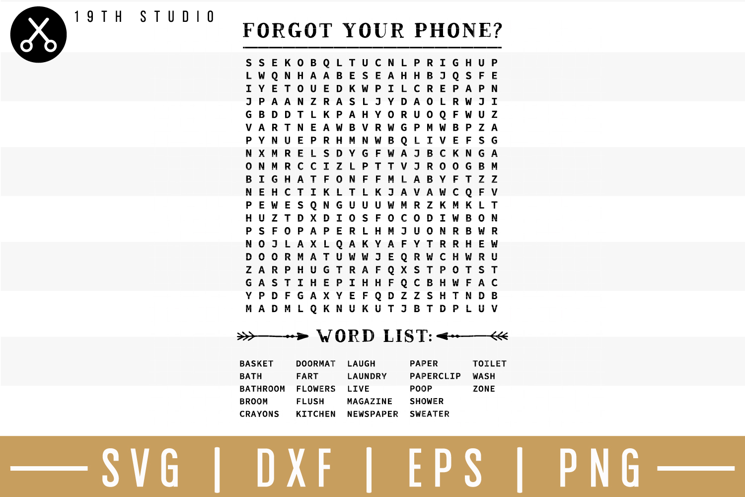 Forgot your phone word search SVG| Bathroom sign SVG example image 1