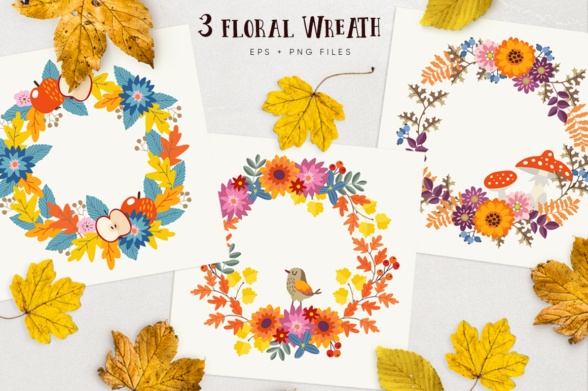 Autumn flowers graphic collection example image 2