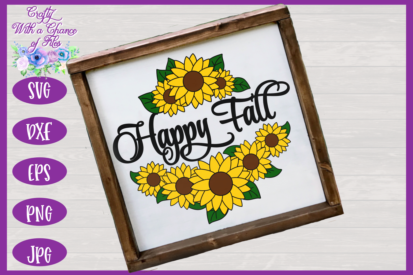 Happy Fall SVG | Autumn SVG | Sunflowers SVG | Fall SVG example image 2