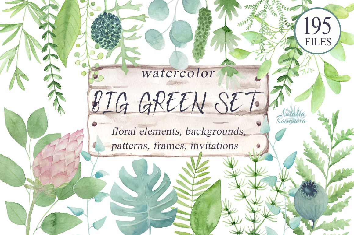 Big green set in watercolor example image 1