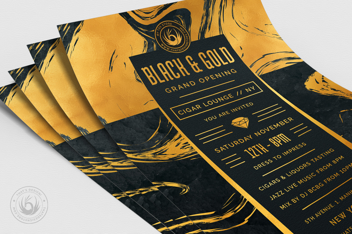 Black and Gold Flyer Template V12 example image 5