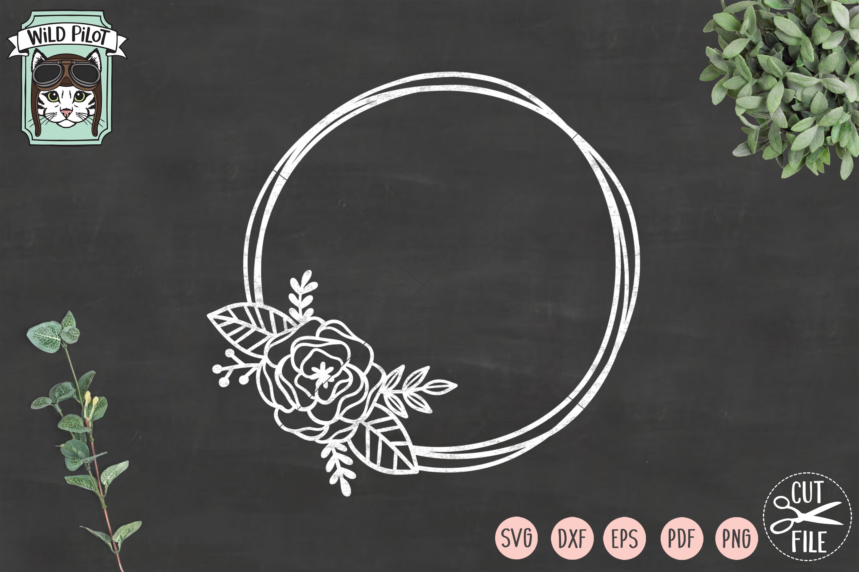 Flower Frame SVG file, Circle Frame, Offset Circle Wreath example image 2