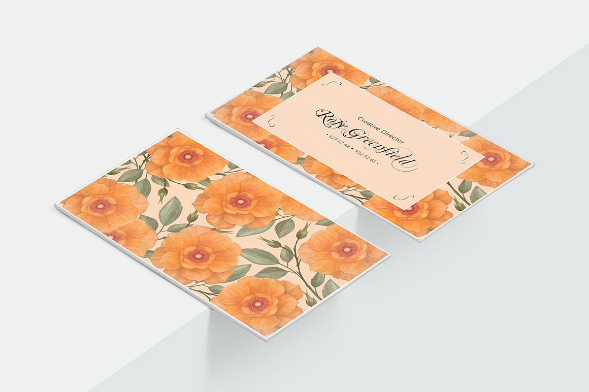 Peach Wild Rose Business Card Template example image 2