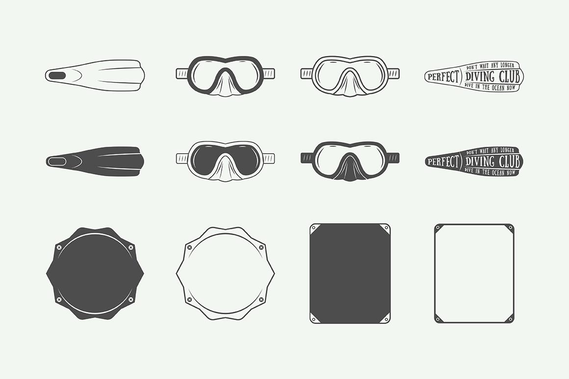 Set of vintage diving emblems example image 4