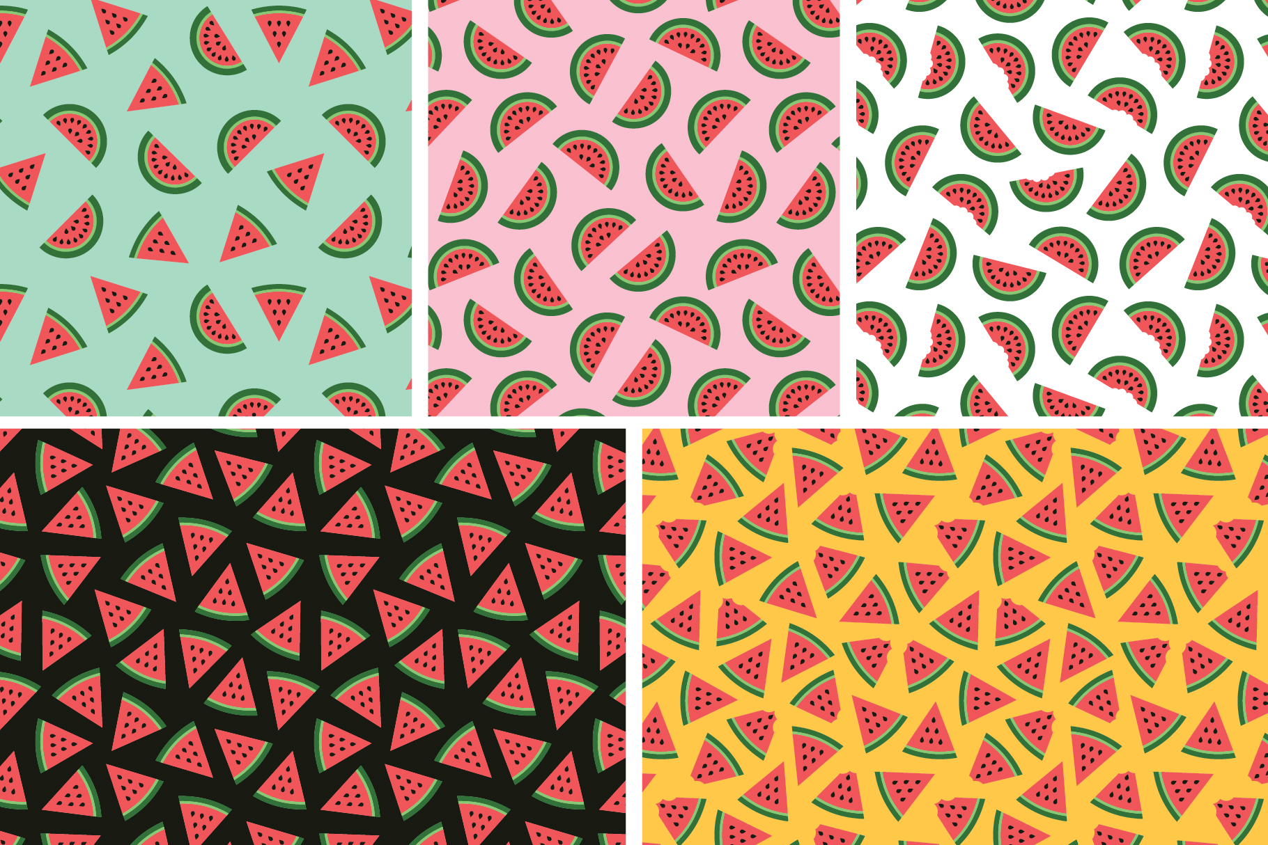 Watermelon Seamless Patterns example image 7