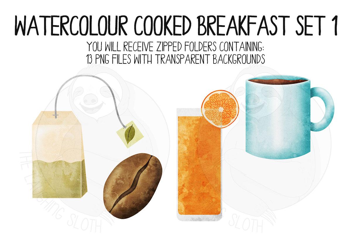 Watercolor Cooked Breakfast Clip Art Set example image 3