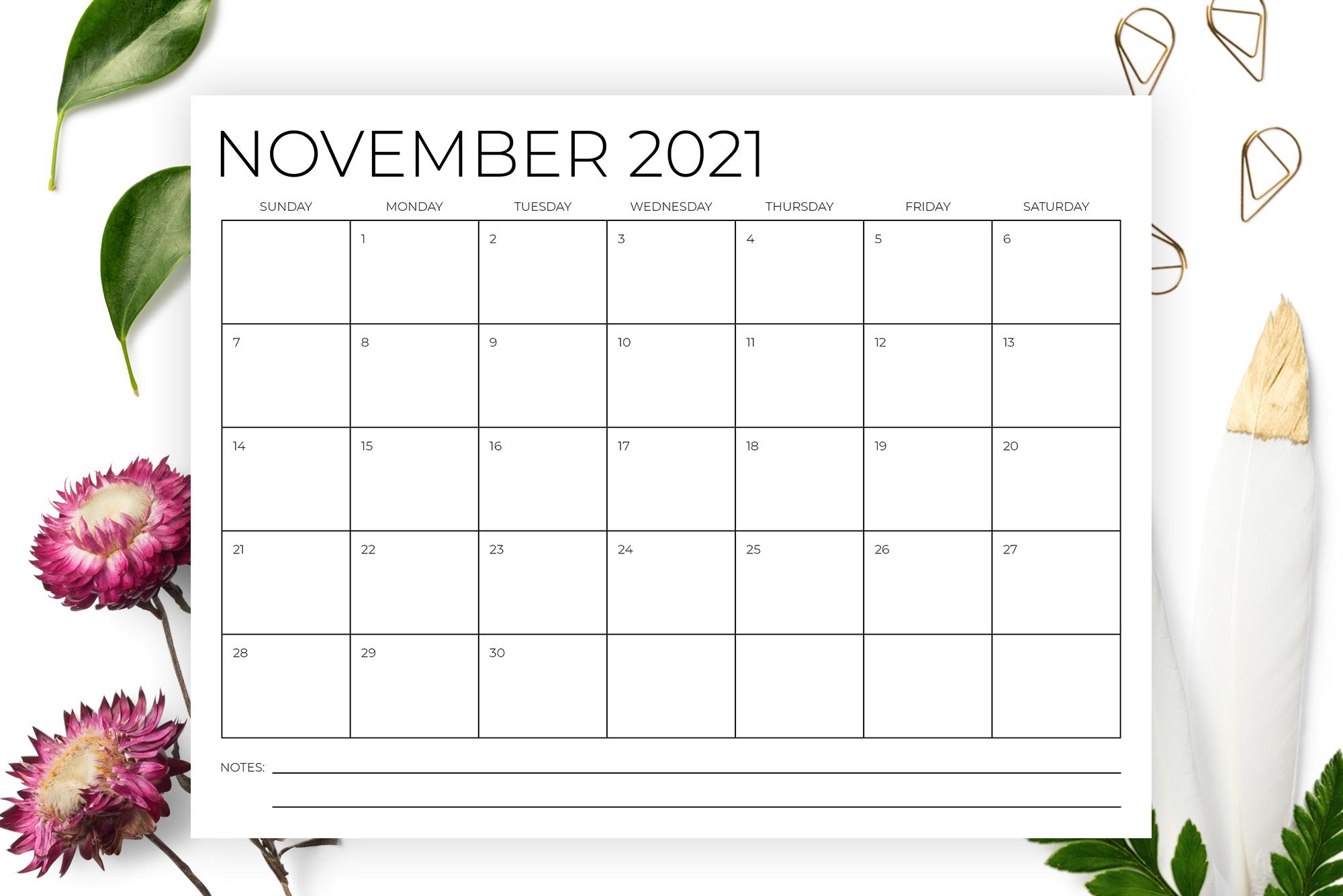 8.5 x 11 Inch Minimal 2021 Calendar example image 3