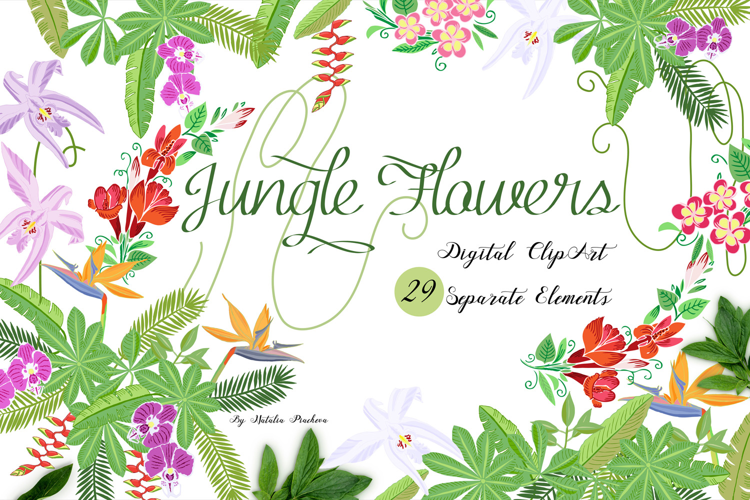 Jungle clipart with flowers example image 1