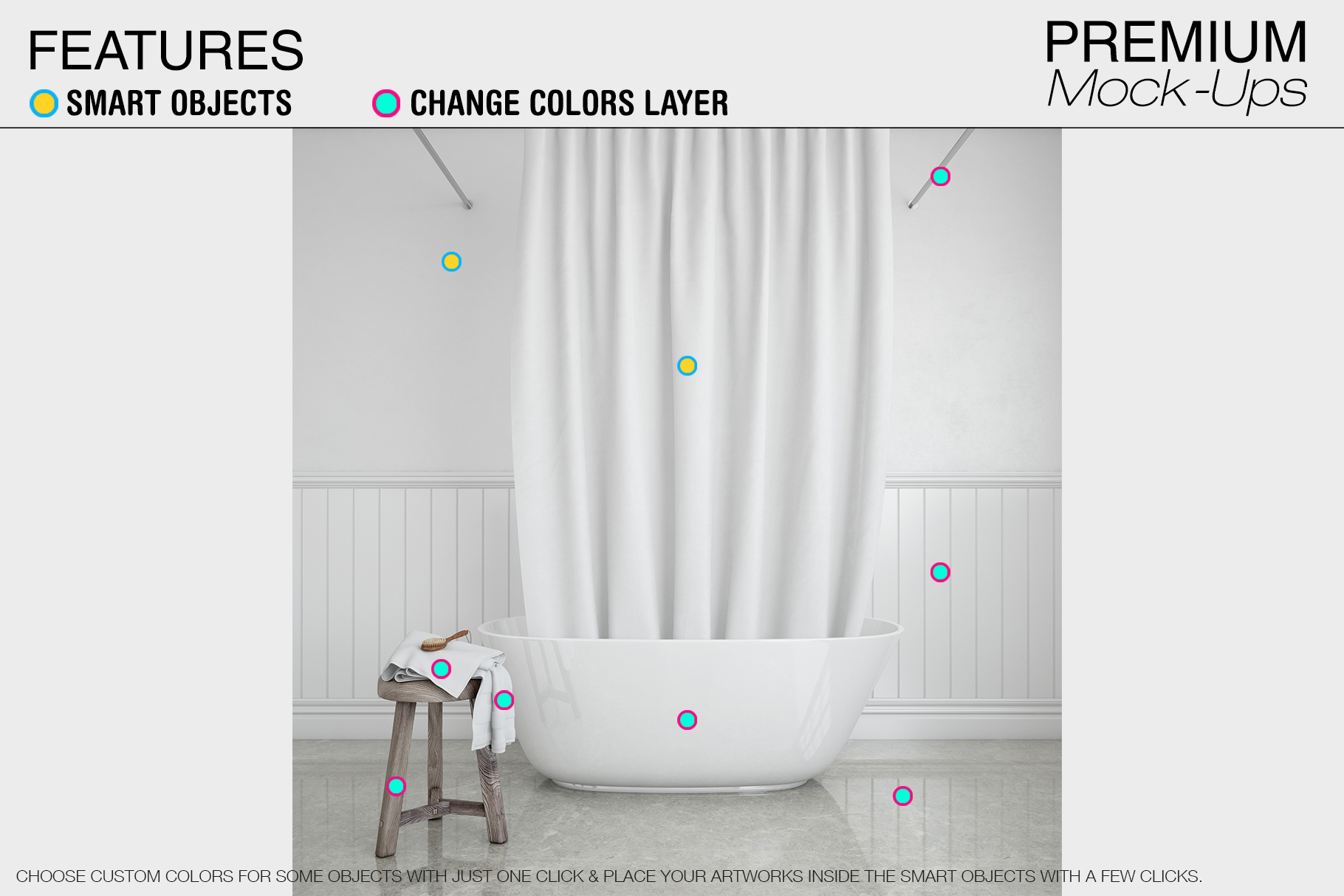 Bath Curtain Mockup Pack example image 2