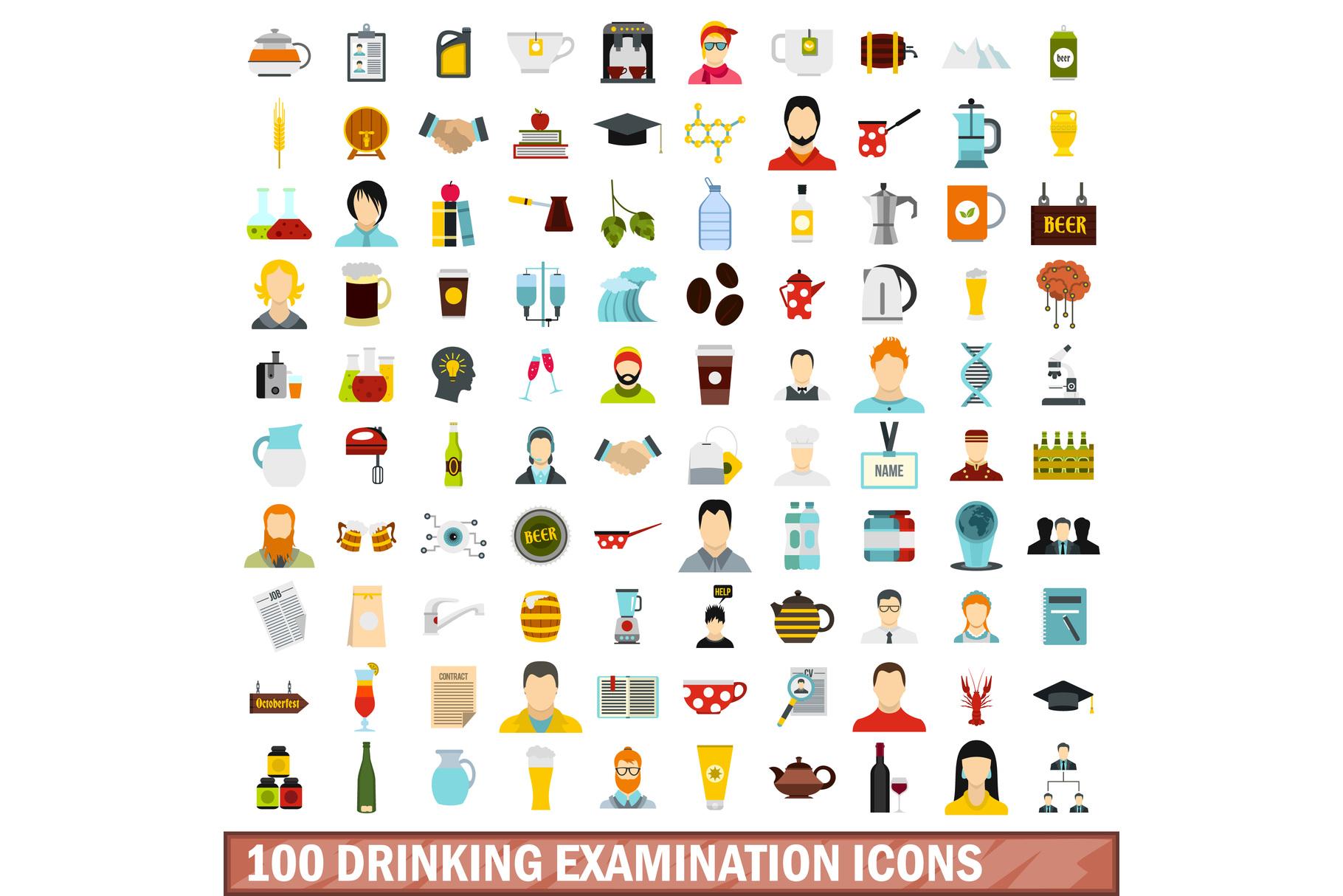 100 drinking examination icons set, flat style example image 1