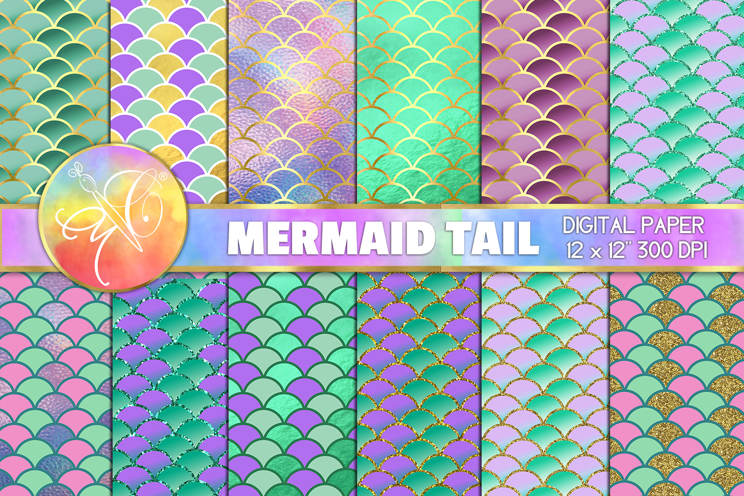 Mermaid Scales Digital Paper, Mermaid Tail Background example image 1