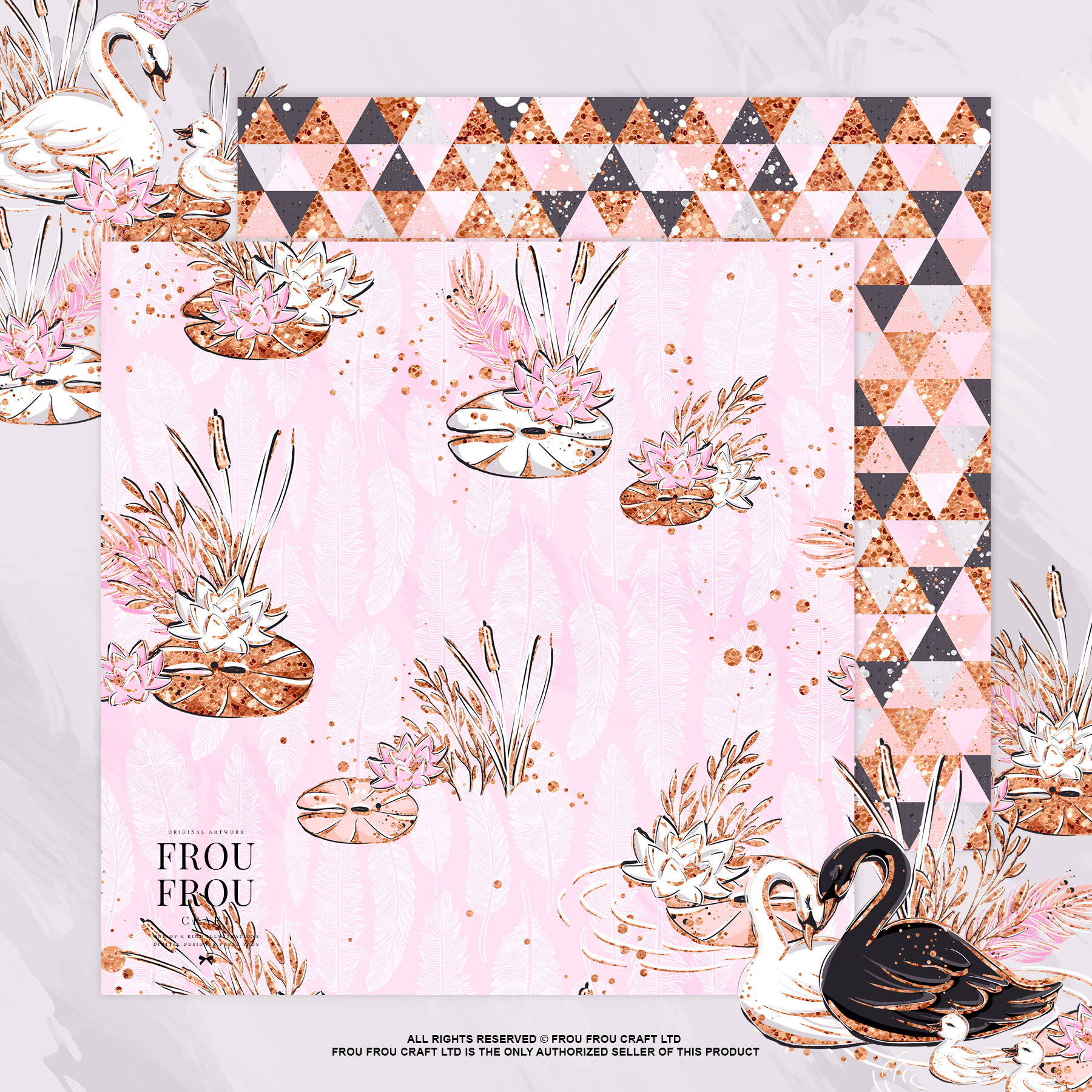 Swan Rose Gold Glitter Nursery Paper Pack example image 2