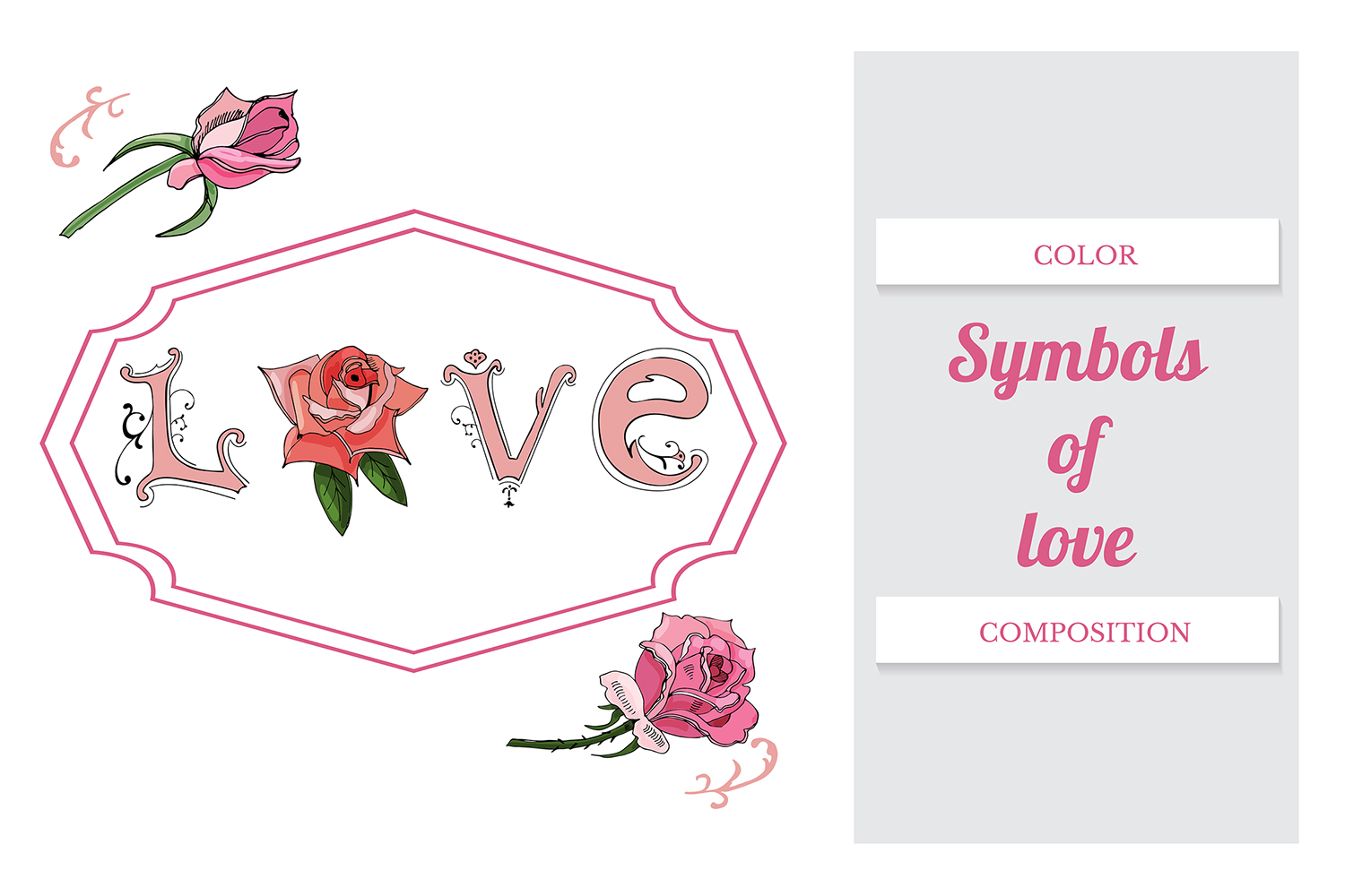Hand drawn set of letters, roses and frame. Vector. example image 3