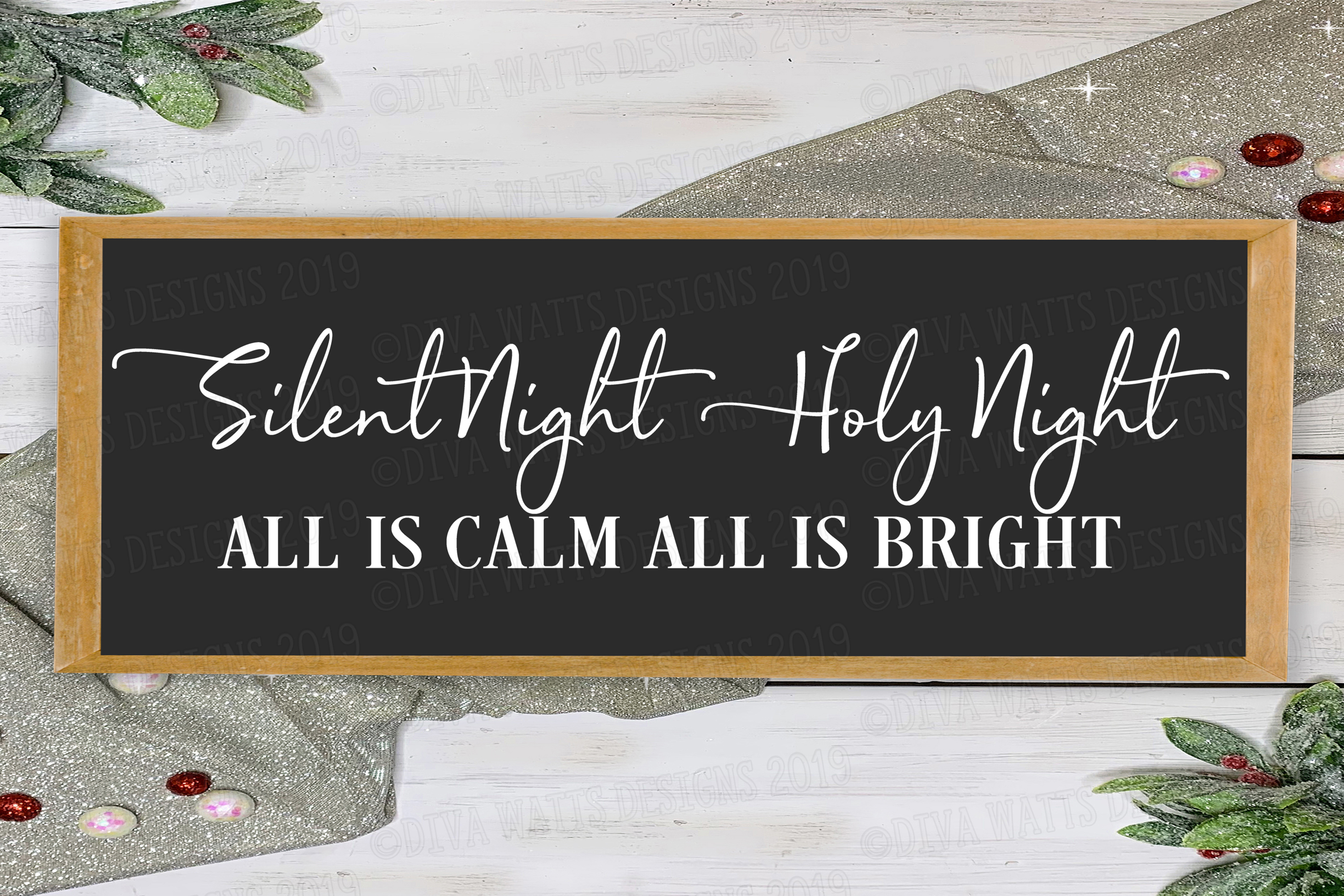 Silent Night Holy Night All Is Calm All Is Bright Cut File example image 1