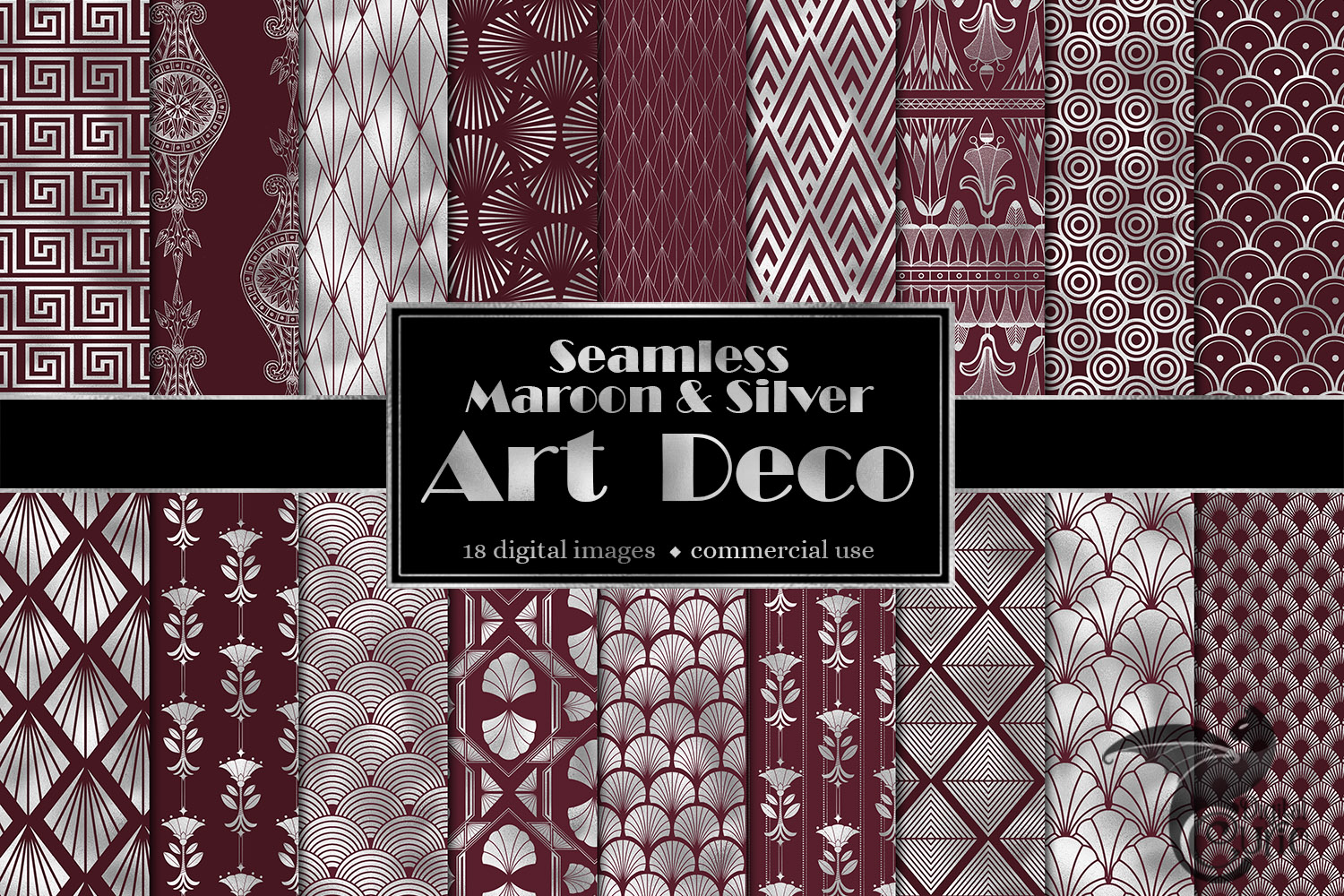 Maroon and Silver Art Deco Digital Paper example image 1