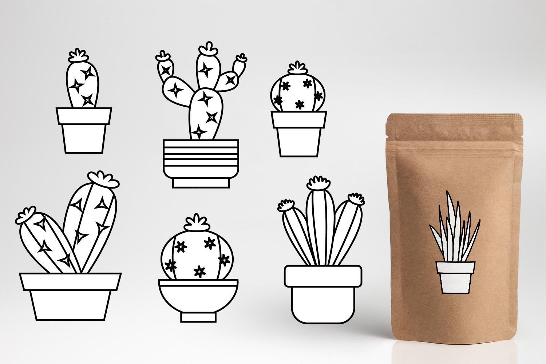 Succulent cactus clip art illustrations bundle example image 5